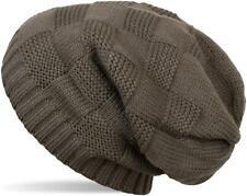 Strick Long Beanie Mütze mit Patent Muster, Slouch Longbeanie Strickmütze Unisex