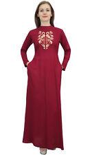 Bimba Women's Casual Maroon Full Sleeves Solid Aari Work Pocket Maxi Dress