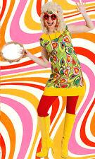 335 ✪ Groovy Hippie mini robe COSTUME 60er 70er années Flower power coeur coloré