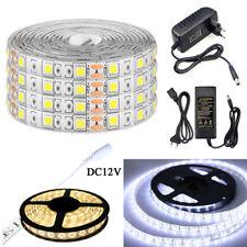 DC12V 1M 5M 10M SMD 5050 white Waterproof 300 LED Flexible light strip Power KIT
