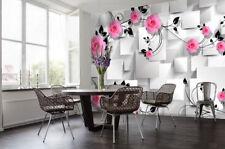 3D Schwarze Blätter, Blüten 9 Fototapeten Wandbild Fototapete BildTapete Familie