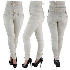 Damen Jeans Stretch Stretchjeans Röhrenjeans Hochschnitt Corsagenjeans Hose 743a