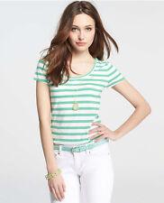 Ann Taylor - Woman's Green Pink Blue Striped Stretch Cotton Tee $28.00 (T5H)