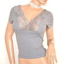 MAGLIA maglietta GRIGIO sottogiacca donna mezza manica corta pizzo strass E140
