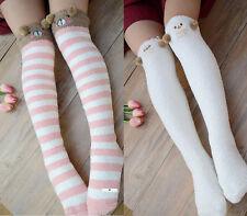 Lolita Cute Bear Sheep 3D Ears Plush Towel Thigh-High Over-knee Stocking Sock