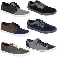 Mens Pumps Rock & Religion Trainers Plimsolls Shoes Leather Suede Look Lace Up