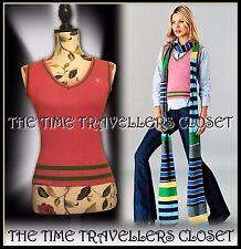 Kate Moss TOPSHOP Pink Yellow Green Stripe Luxury Wool Blend Knit Tank Top UK 8