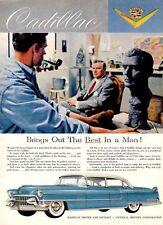 1955 Cadillac Blue Sculptor White Walls PRINT AD