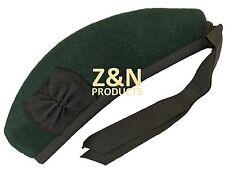 Sombrero escocés Glengarry Clásico Verde Lisa -100% Puro Lana Acrílico