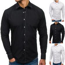 BOLF Hombre Camisa Manga Larga Ajustado Clásico Slim Fit Elegante 2B2 Estampada