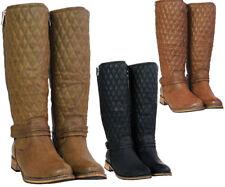 Women's Ladies Mid Block Heel Zip Buckle Strap Biker Calf Knee Boots Sizes 3-8