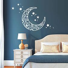 11117 Pegatina pared luna estrellas Dormitorio Star Blanco Infantil sueño