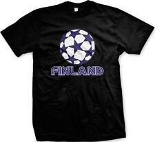 Soccer Ball Finland Suomi Suomen Jalkapallo Lippu Finnish Pride Mens T-shirt