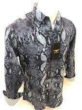 Mens PREMIERE Long Sleeve Button Down Dress Shirt CAMO GREEN ABSTRACT SKULL 300