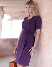 Bravissimo Sexy vestido de tejido Mock Wrap Crepe Color Morado RRP £ 79 (32)