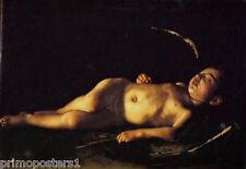 SLEEPING CUPID HUMAN BODY BAROQUE ITALIAN PAINTING BY CARAVAGGIO REPRO