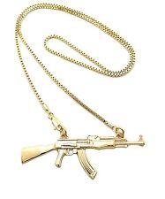 """NEW AK MACHINE GUN PENDANT 2mm/24"""" BOX CHAIN FASHION NECKLACE XZP9BX"""