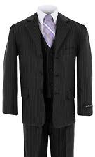 JL5014 Johnnie Lene Black Pinstripe Boys Suit  Baby to Teen