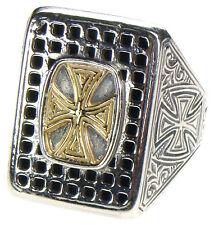 Gerochristo 2638 ~ Solid 18K Gold & Sterling Silver Medieval Cross Ring