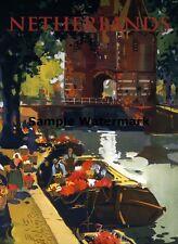 "NETHERLANDS Holland Flower Vendors  12""x16"" Vintage Travel Poster Repro FREE S/H"