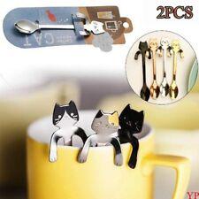 Cute Stainless Steel Cat Coffee Drink Spoon Tableware Kitchen Tool Hanging 2PCS