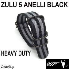 CINTURINO OROLOGIO NYLON ZULU G10 NATO NERO GRIGIO James Bond 20mm 22mm 24mm 007