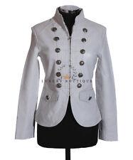 Scarlett White Ladies Women's Short Real Soft Lambskin Leather Military Jacket