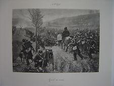 Grande estampe  Alfred ROLL  La marche en avant  Guerre Soldats Militaires