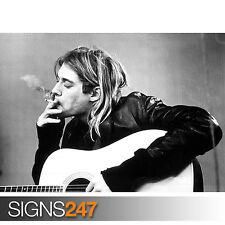 Kurt Cobain Blanco Y Negro De Fumar (1159) Foto Cartel impresión arte A0 A1 A2 A3 A4