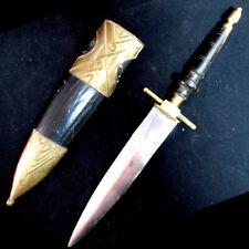 ANTIQUE VINTAGE OLD KNIFE DAGGER BLADE INDIA Carved HANDLE Brass CASE Estate
