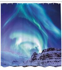 Winter Shower Curtain Aurora Borealis Iceland Print for Bathroom