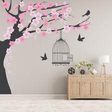 Pink Blossom Tree Vogelkooi Muursticker WS-44916