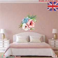 Hibiscus Rose Fleur Feuilles Autocollant Mural Art Mural Décoration Autocollant tropical