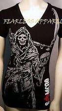 Sons Of Anarchy Soa Reaper Samcro Season 7 Laser Cut Black Juniors Shirt S-Xl