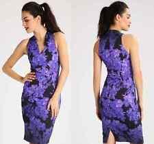 New Karen Millen floral print black purple signature shift dress UK 10 12 14 16