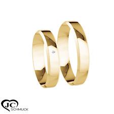 2x Verlobungsringe Eheringe Trauringe mit 0,01ct. in 333 Gelbgold 4 mm Breite