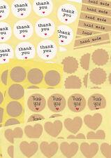 Geschenkaufkleber bunt rund eckig Kraftpapier Thank you Handmade Herzen
