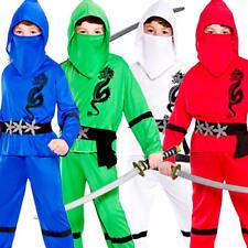 Power Ninja Boys Fancy Dress Japanese Samurai Warrior Kids Childs Costume Outfit
