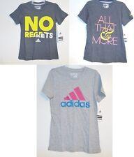 Adidas Girls Gray T-Shirt Top Logo Sizes Sm 7-8 Med 10-12 Lg 14-16 NWT