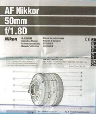 Af Nikkor 50mm f/1.8 d manual de instrucciones manual mode d 'emploi - (11875)