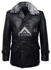 'GERMAN PEA COAT' Black Furr Men's Classic Reefer Military Hide Leather Jacket