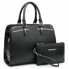 Women Ostrich Large Faux Leather Satchel Handbag w/ Matching Wallet Purse