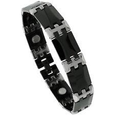 Tungsten Carbide & Ceramic Magnetic Bracelet, 2-Tone (Black,Gun Metal) Bar Links