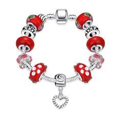 Beadarmband Bettelarmband Armreif Silber für Charms Anhänger Armband Rot Herz