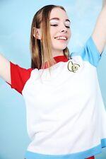 El bloque Hipster whitepepper Camiseta De Punto Color Blanco Azul Rojo #5V65