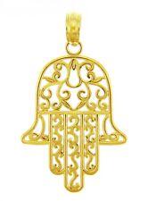 14k Yellow Gold Jewish Hamesh Hand Filigree Charm Hamsa Pendant
