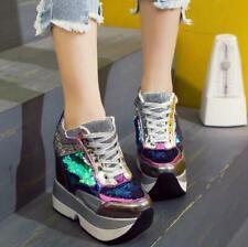 Women Shoes Glitter Hidden Wedge Casual High Heels Sneakers Platform Lace Up New