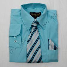Boys Hawaiian Green Dress Shirt with Matching Tie &  Hankie Long Sleeves 4 to 20