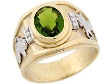 10k or 14k Two Toned Real Gold Simulated Peridot Birthstone Pegasus Mens Ring