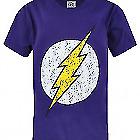 DC Comics Flash Distressed Logo Boy's Children's Purple T-Shirt Top
